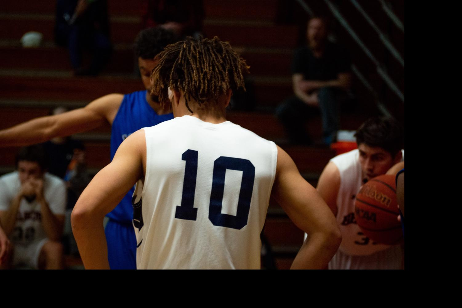 SRJC starting freshman guard, and former Cardinal Newman High school standout, Damian Wallace waits for his teammate to shoot free throws in the Bear Cubs 82-62 blowout win February 5, 2019.