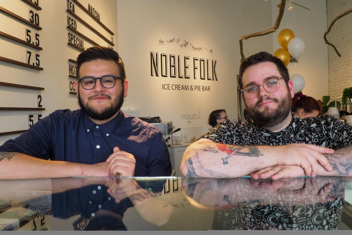 Ozzy Jimenez (left) and Christian Sullberg (right), co-owners of Moustache Baked Goods, Pastry Annex and two Noble Folk locations, opened the newest Noble Folk in downtown area Santa Rosa.