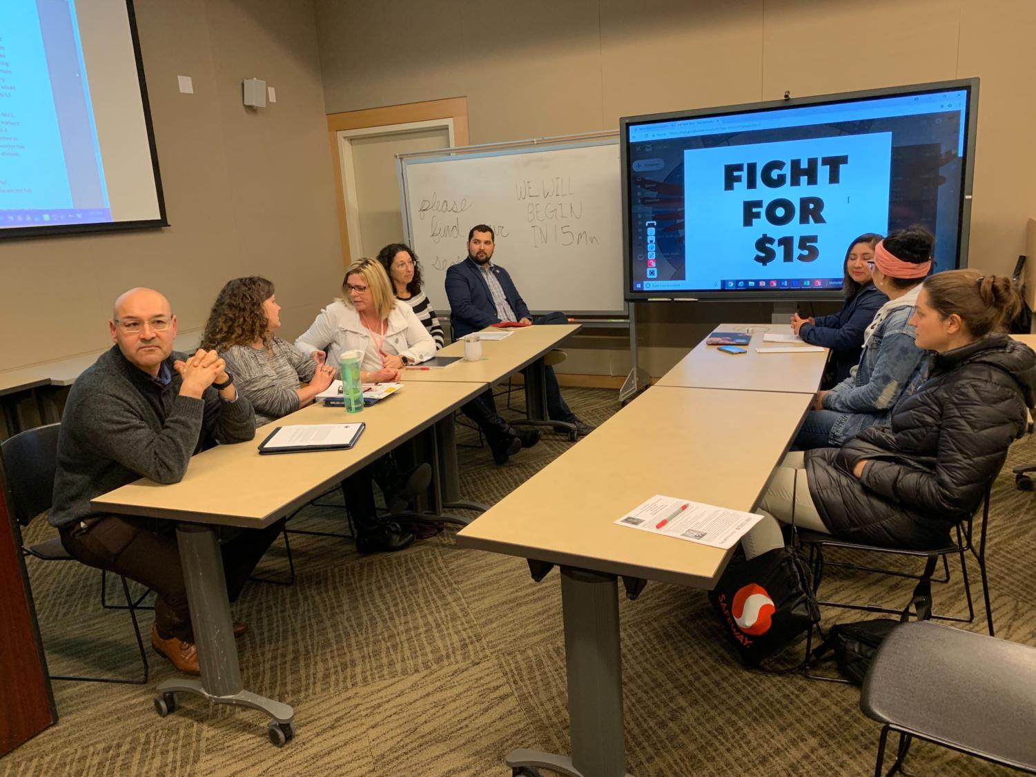 SRJC officials answer on-going questions from MEChA. Seated left-to-right: Pedro Avilla, assistant superintendent and vice president of student services; Kate Jolley, interim vice president of finance and administrative services; Rachael Cutcher, manager of student financial services; Jana Cox, director of student financial services; Jordan Burns, president of the board of trustees.