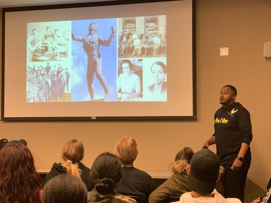 SRJC+Umoja+and+Student+Success+program+cordinator%2C+Byron+Reaves%2C+explains+the+deep+connections+between+hip-hop+and+the+voice+of+black+America+in+his+presentation+%22It+Was+All+a+Dream%2C%22+Tuesday+afternoon+in+the+Bertolini+Student+Center.