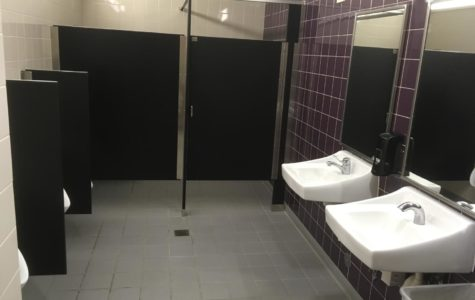 The upstairs men's bathroom in Mahoney Library on Petaluma campus where the alleged incident took place.
