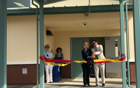 SRJC Dean of Public Safety April Chapman and President Frank Chong unveil Public Service Training Center on Windsor Calif. Aug 29, 2019. This building part of many other projects with help from the Measure H program.