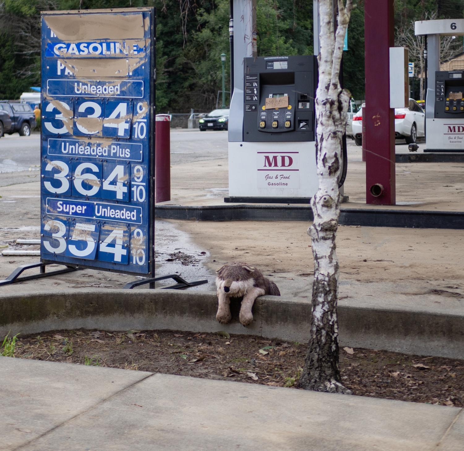 A forgotten stuffed animal sits alone at a gas station during floods that crippled Guernville in February of 2019.
