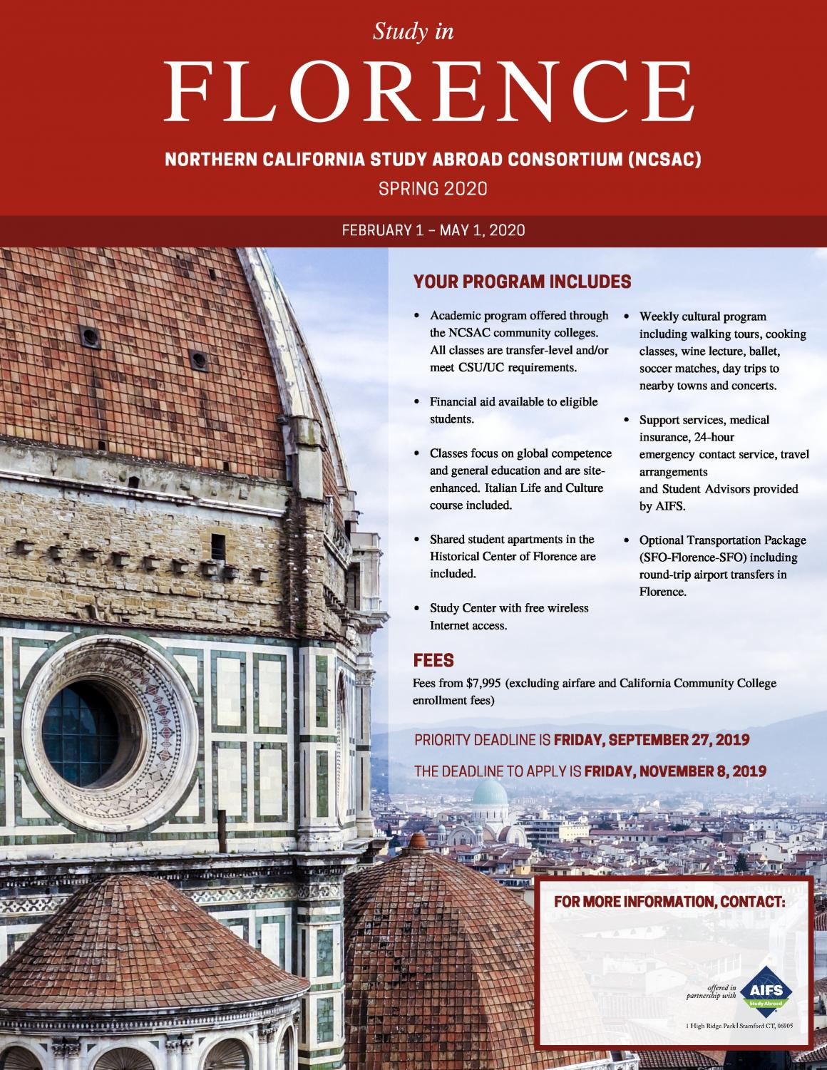 The SRJC Study Abroad program is a cooperative effort of multiple Northern California schools. This spring's program will be in Florence, Italy.