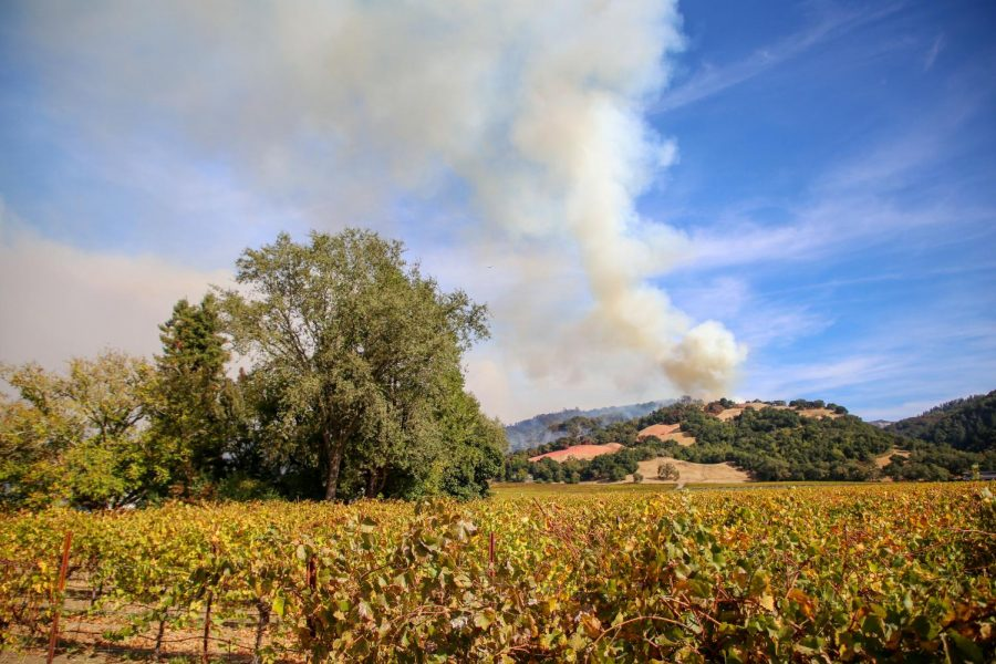 The Kincade fire is seen burning at Alexander Valley Road in Healdsburg on Oct.  24.