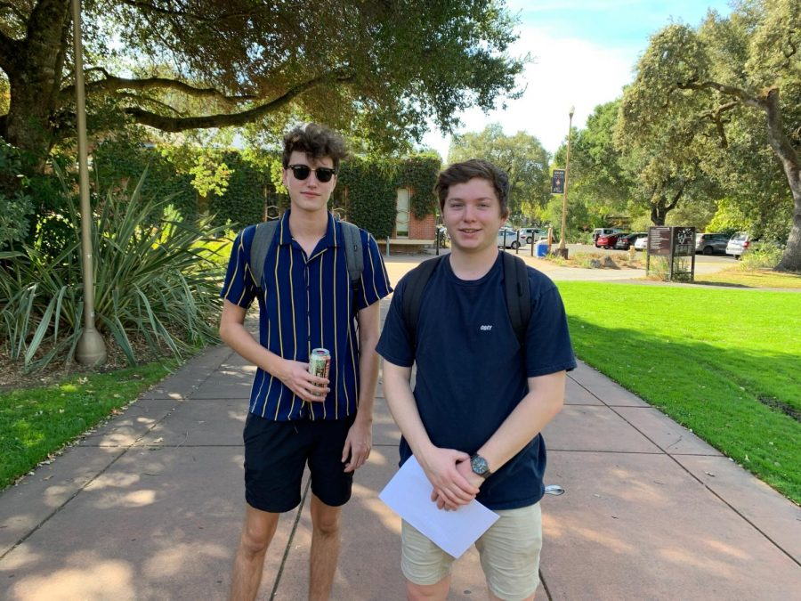 SRJC students and friends Chris Morris, 19, and Duncan MacGregor, 19, connect on campus for the first time since the Kincade fire started. Morris's home and phone were without power, so they were grateful to meet on campus.