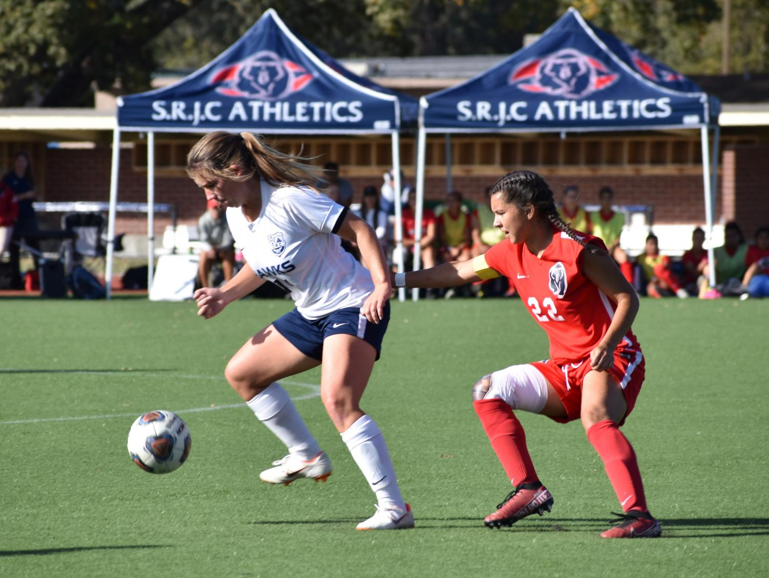 SRJC captain Gizela Carranza attempts to steal the ball from a Cosumnes River player during the Bear Cubs 0-0 draw Friday.