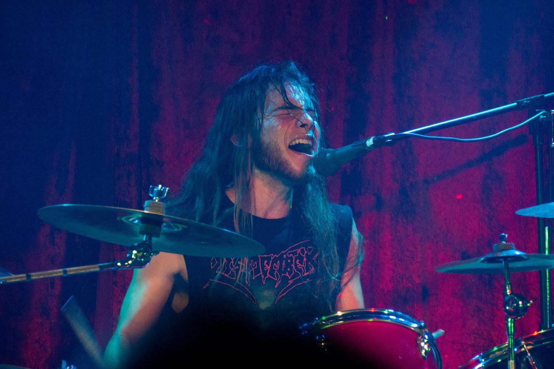 Drummer Rafael Bañuelos, 21, performs on Nov. 9 at 3 Disciples Brewing in Santa Rosa during an Incredulous show.
