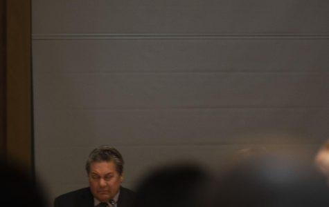 Trustee Don Edgar battles sleep during Tuesday's Board of Trustees meeting.