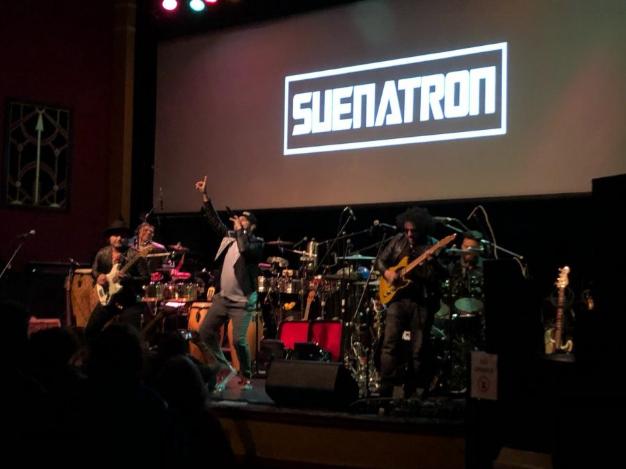 SuenaTron hypes an excitable crowd at the Mystic Theater in Petaluma, California. The band is currently working on its first album and has not yet set a release date.
