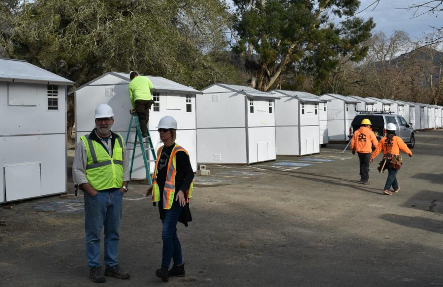 County Project Manager Bruce Overson and Pallet Shelter Founder and CEO Amy King  discuss the site Jan. 23 at the Los Guilicos Village in Santa Rosa.