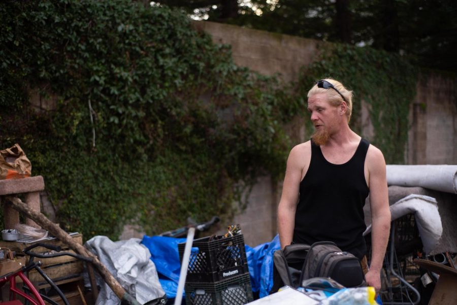 Steve, 33, surveys his camp in preparation for his move elsewhere on Jan. 31, the deadline for Joe Rodota residents to vacate the trail.