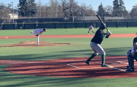 Noah Rennard delivers a pitch to a Laney College batter in the sixth inning of the Bear Cubs' 4-0 win Thursday at SRJC. Rennard was masterful, pitching into the eighth inning without allowing a hit.