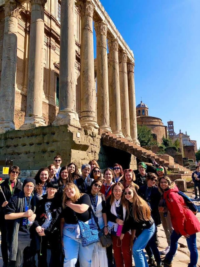 SRJC students pose alongside their fellow Spring 2020 AIFS students in front of the Roman Forum, blissfully unaware that it would be their last trip together before contagious disease would cause the program's termination on March 3.