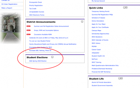 SRJC students can  visit their student portal and click SGA Spring 2020 Election to vote for their representatives.