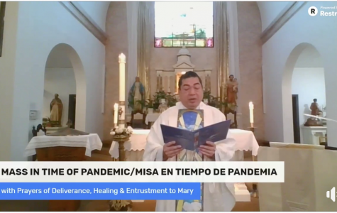 Father Alvin Villaruel of the St. Francis Solano Catholic Church in Sonoma performs a special mass in the time of a pandemic that was suggested by the Order of the United States Catholic Bishops.