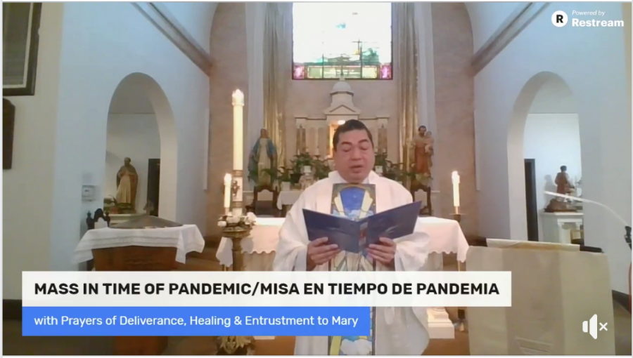 Father+Alvin+Villaruel+of+the+St.+Francis+Solano+Catholic+Church+in+Sonoma+performs+a+special+mass+in+the+time+of+a+pandemic+that+was+suggested+by+the+Order+of+the+United+States+Catholic+Bishops.