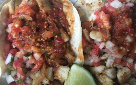 Two fish tacos from Chunky's Taqueria in Petaluma.
