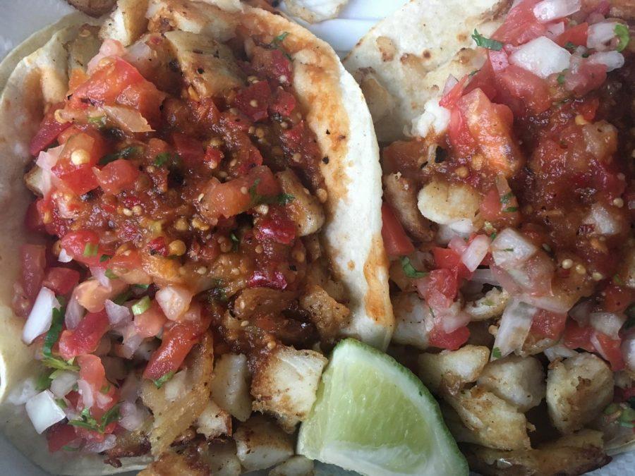 Two fish tacos from Chunky's Taqueria in Petaluma.