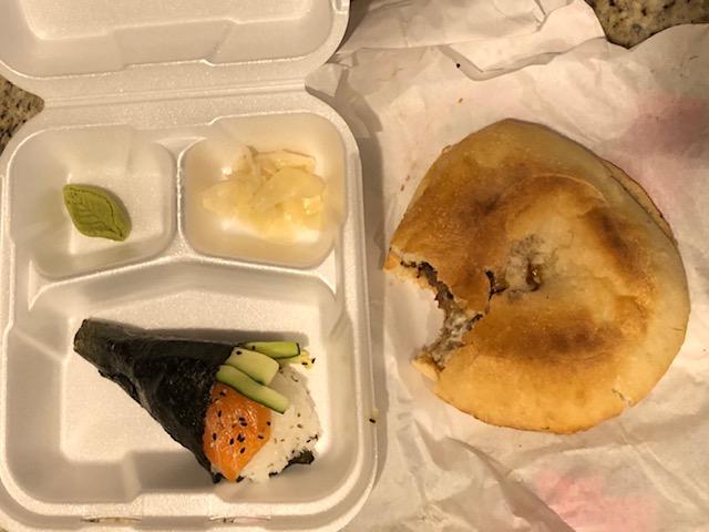 A Salmon handroll and teriyaki cheesesteak. Ultimate in feel good food.