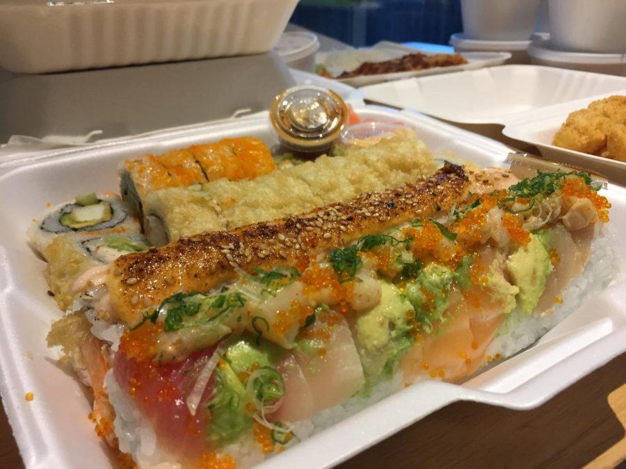 Paradise sushi's samuri roll, golden California roll, yummy roll and calamari roll.
