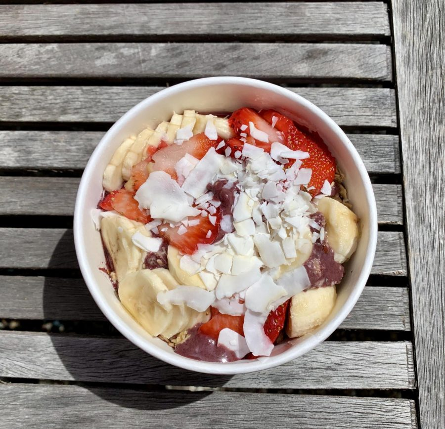 Tropical Bowl from Vitality Bowls in Santa Rosa, on Mendocino Avenue near the SRJC campus.