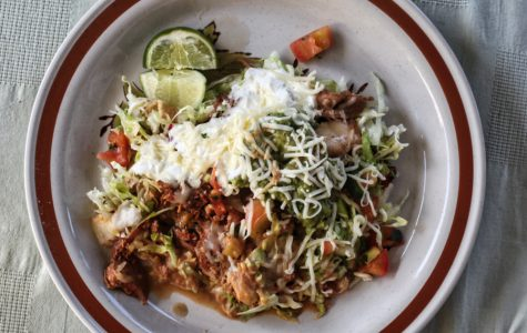 El Tarasco's chicken tostada with soft tortilla, shredded chicken and the works.