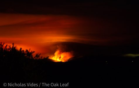 A fire burns Tuesday night as part of the LNU Lightning Complex, a series of wildfires raging in Sonoma and Napa counties.