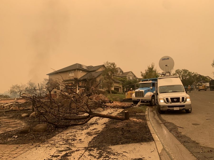 Destroyed homes lie next to untouched ones in Santa Rosas Skyhawk neighborhood.