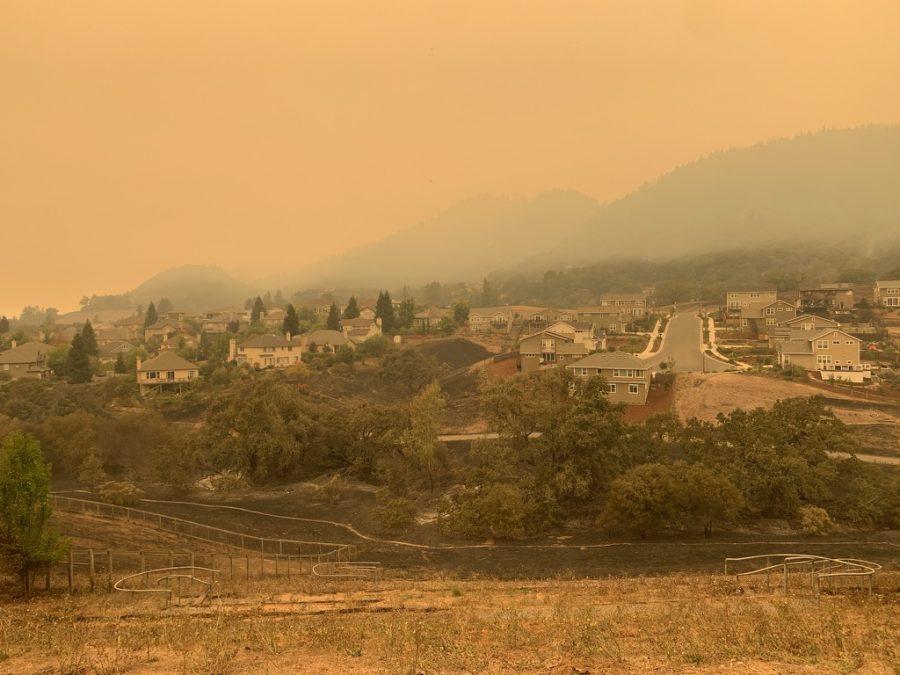Smoke blankets the Annadel hills.