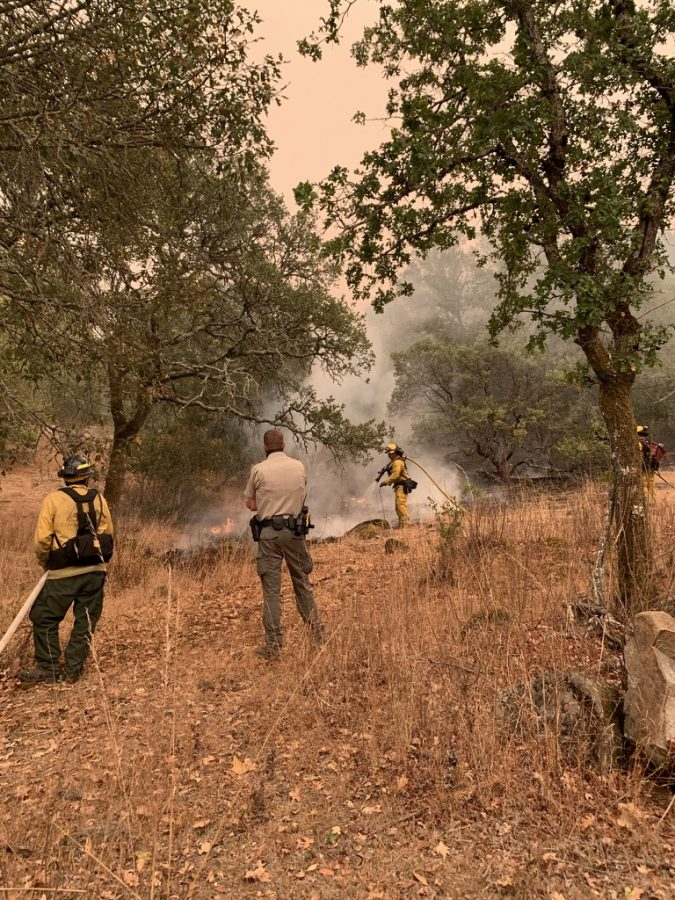 Cal Fire crews work on Monday evening to extinguish a vegetation fire at the entrance to Annadel State Park, just past the public restrooms.