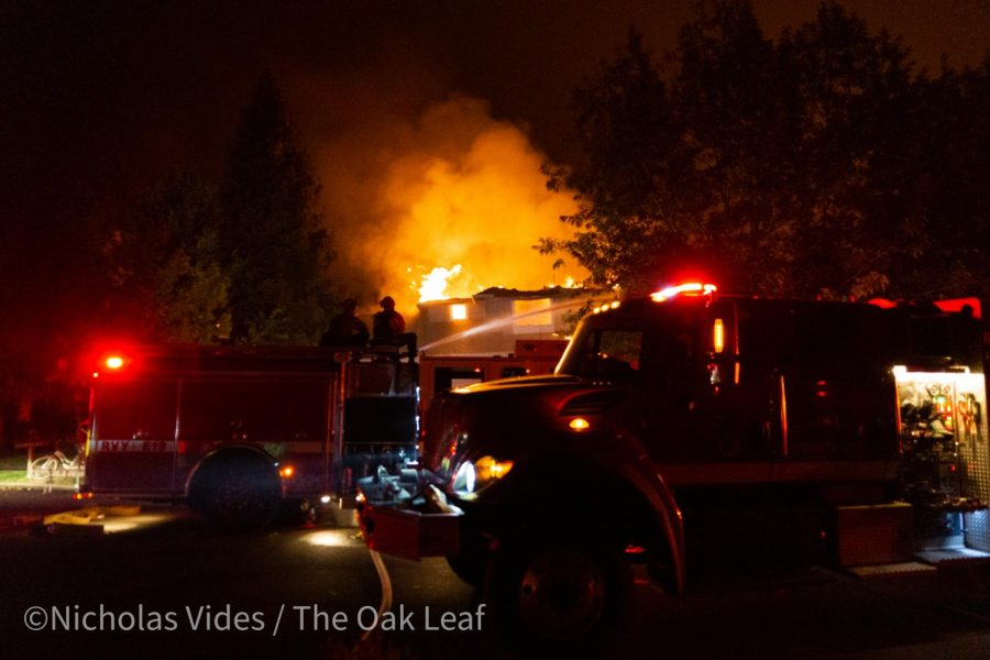 Three engines attack a home on fire on Mountain Hawk Road early Monday morning.