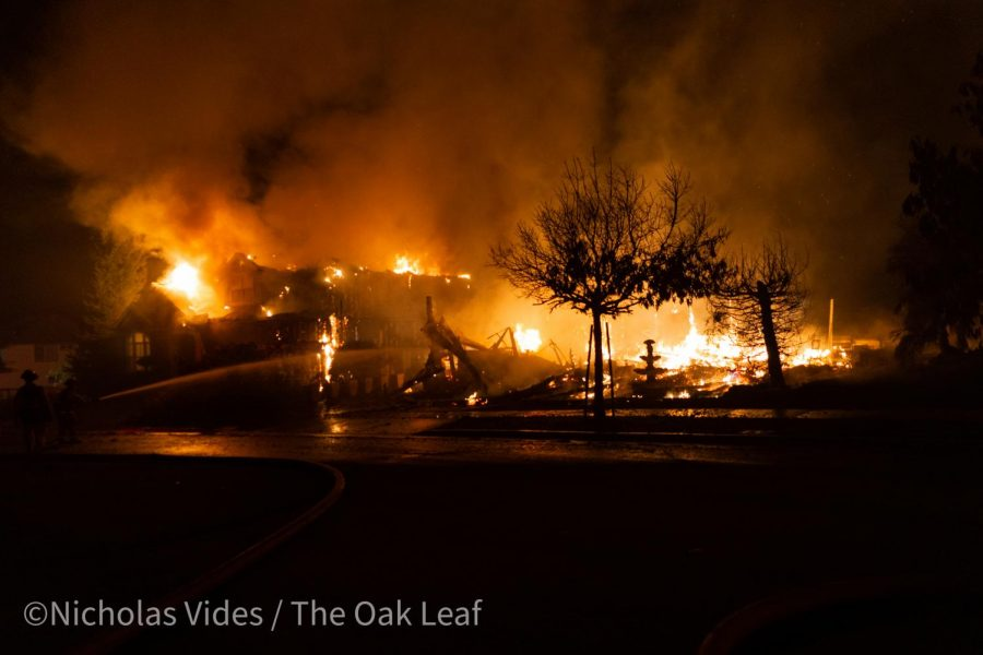 The Shady Fire burns through Mountain Hawk Drive at 3:30 a.m. Monday.
