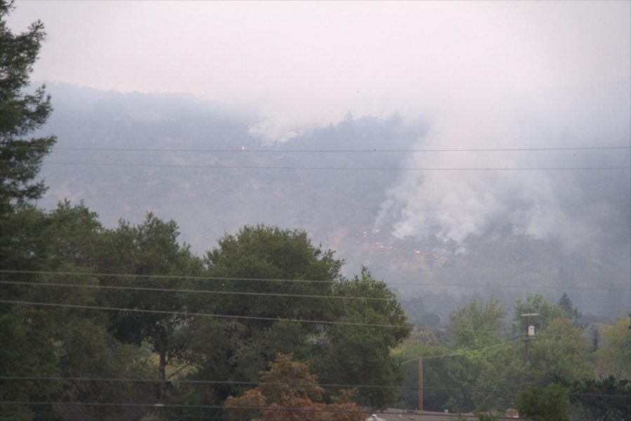 Hot spots flare in the Annadel hills Monday, Sept. 28, 2020.