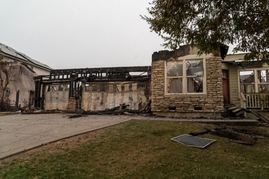 The front facade of this Mountain Hawk Drive home are all that was left standing after the Glass Incident fire burned the rest in the early morning hours of Monday, Sept. 28.