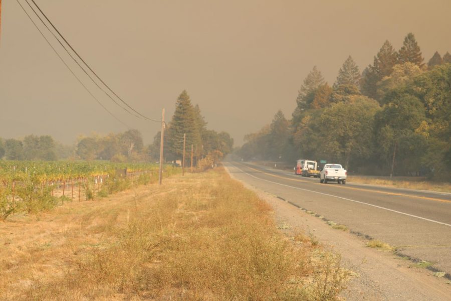 Smoke from the Glass Fire obscuring visibility on HWY 128 in Calistoga
