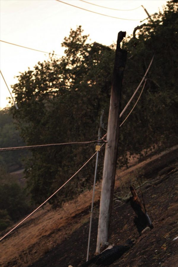 A charred utility pole holds dangling power lines on the side of Highway 12.