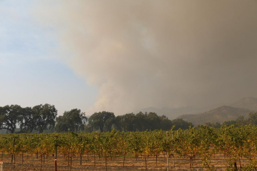 Smoke from the Glass Fire hanging over Hwy 29