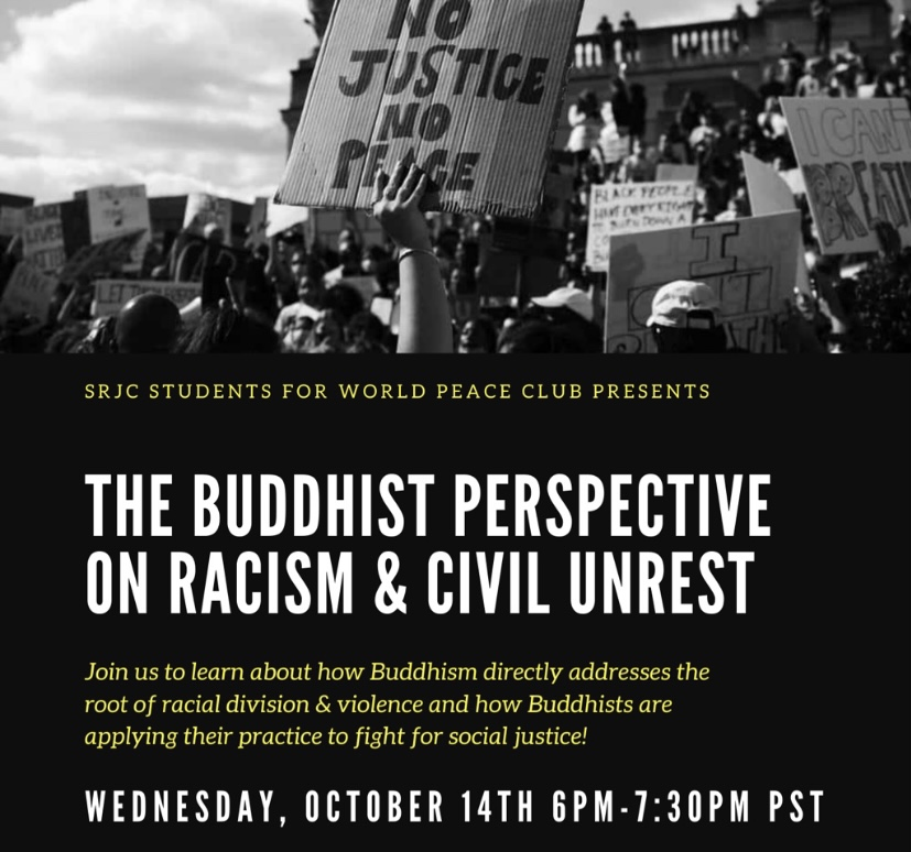 Poster for the Buddhist perspective on racism & civil unrest event.
