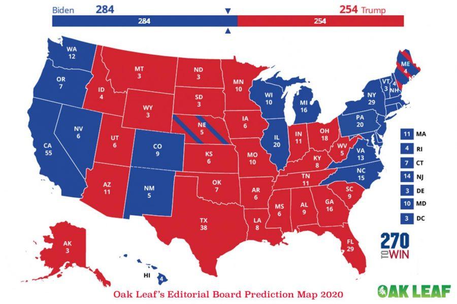 The Oak Leaf Editorial Board Predicts Joe Biden winning 284-254.