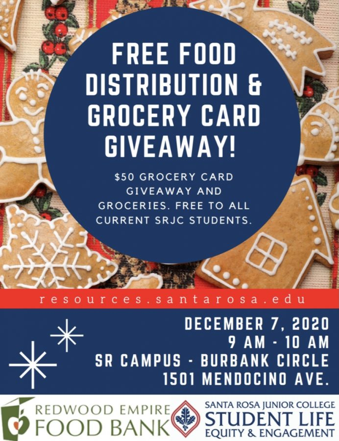 The last food distribution and grocery card giveaway of the semester will take place 9–10 a.m. Dec. 7 on Santa Rosa campus
