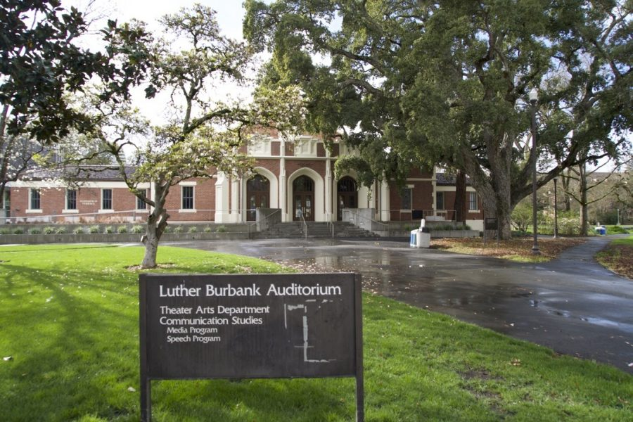 An image of SRJC's Luther Burbank Auditorium, home to SRJC's theatre programs.