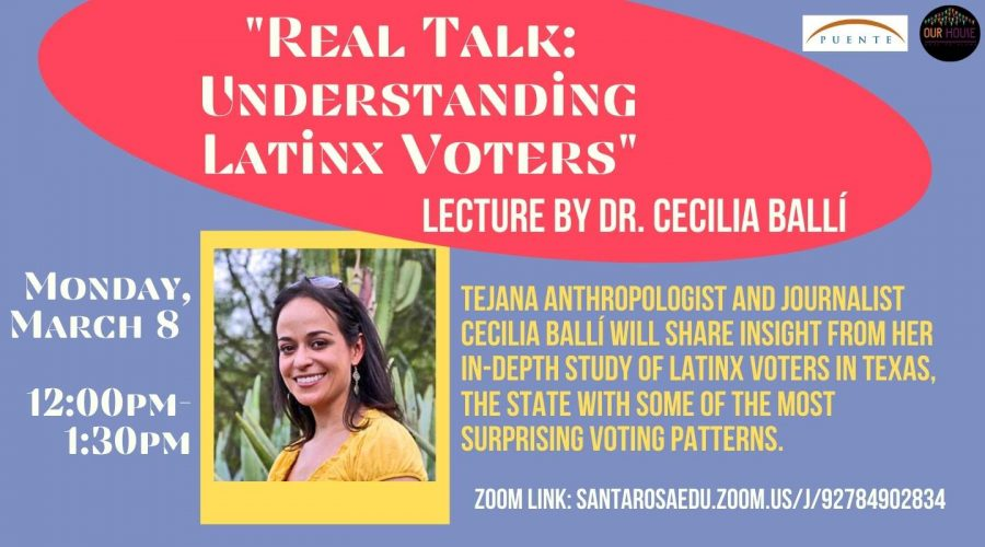 A banner for Dr. Cecilia Balli's lecture on Latinx voting trends.
