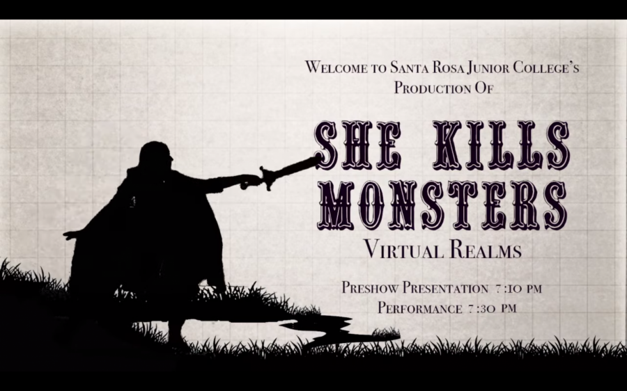 A poster for SRJC Theatre Arts performance of She Kills Monsters: Virtual Realms featuring a silhouette of a person with a sword.
