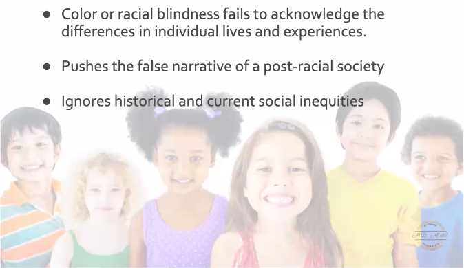 A slide about the disadvantages of colorblindness with regard to young children.