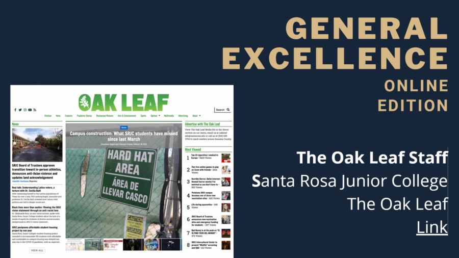A slide from the Journalism Association of Community Colleges 2021 spring awards ceremony in which The Oak Leaf won the Online General Excellence award.