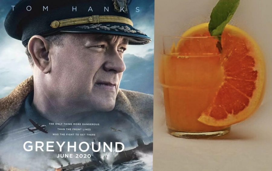 "On the left is a poster for the movie ""Greyhound"" starring Tom Hanks. On the right is a photo of a greyhound cocktail."