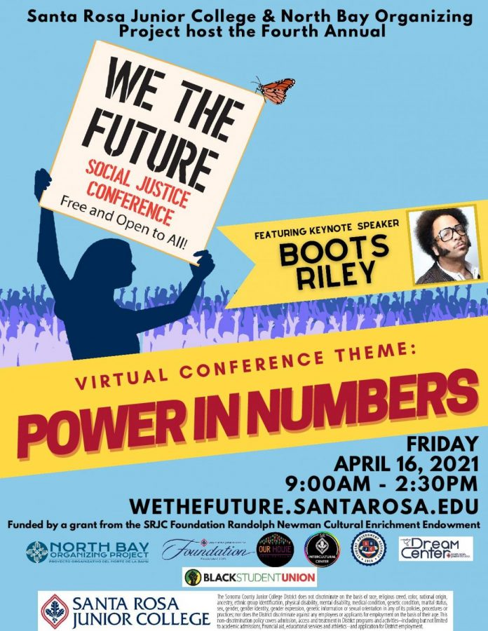 A poster for Santa Rosa Junior College Our House's We the Future 2021 conference on April 16.