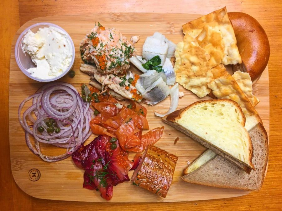 The smoked and pickled fish board from Grossman's Noshery & Bar.