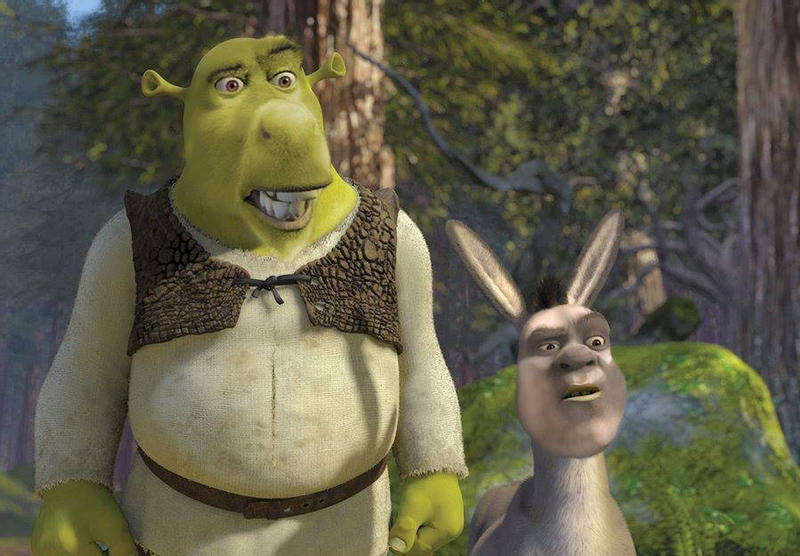 A graphic of the characters Shrek and Donkey edited to have their faces swapped.